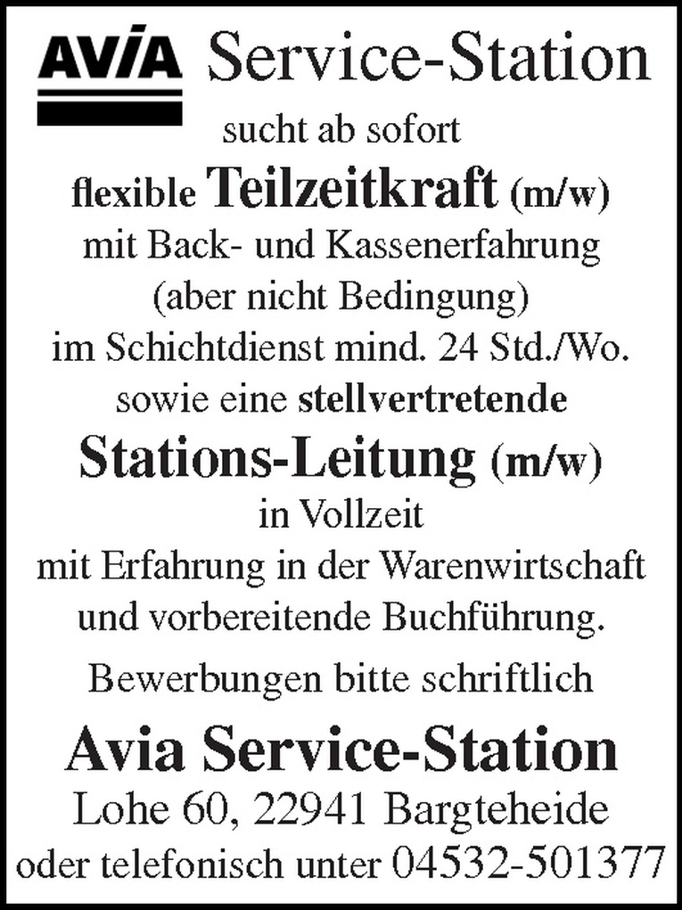 Stations-Leitung (m/w)