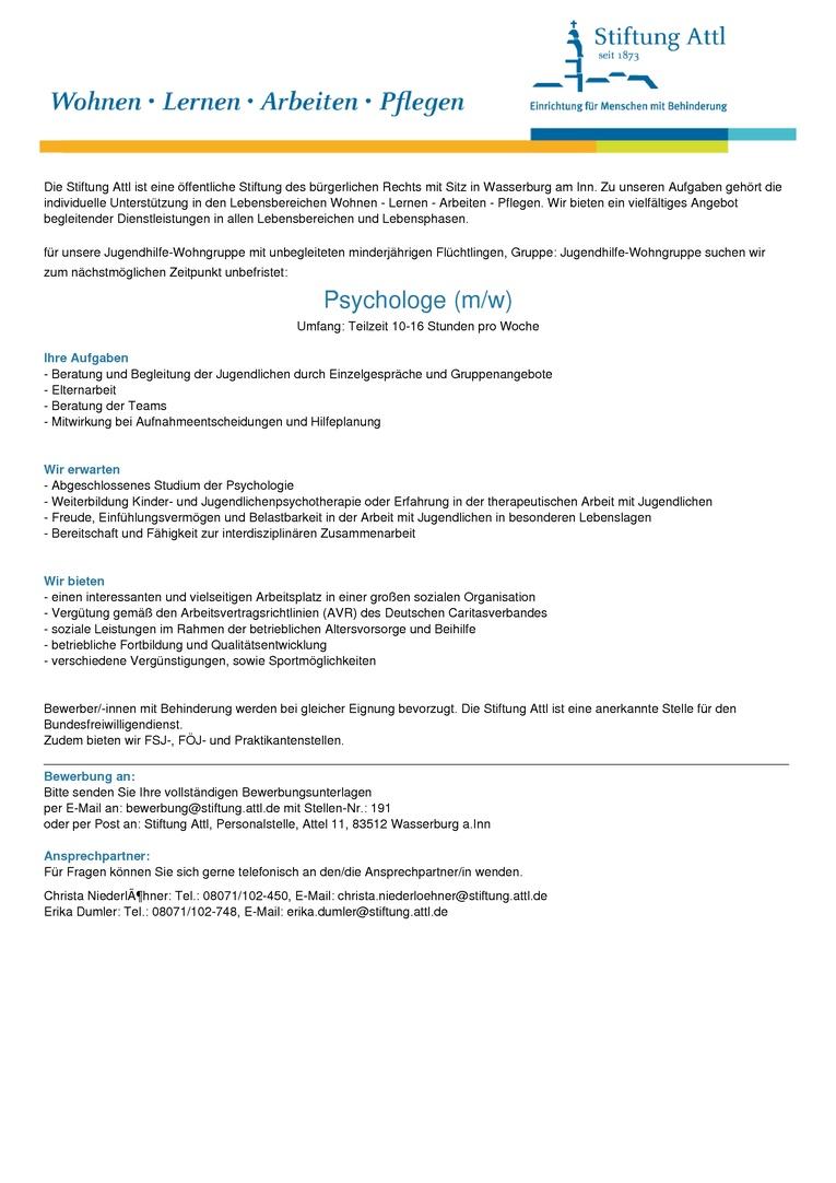 Psychologe (m/w) in Teilzeit 10-16 Wochenstunden, unbefristet, Stellen-Nr. 191