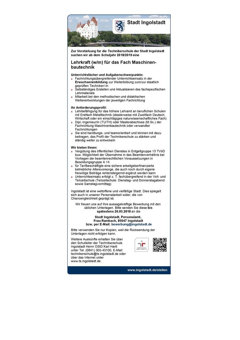 Lehrkraft (w/m) für das Fach Maschinenbautechnik