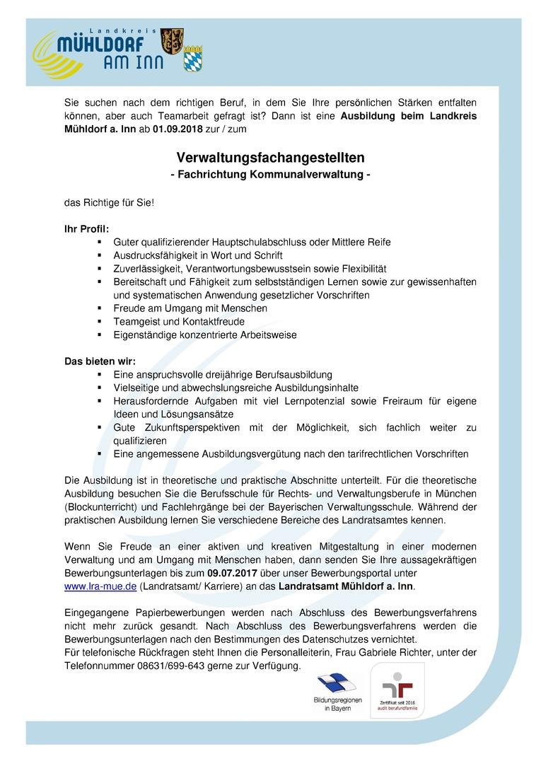 Verwaltungsfachangestellte/r (Ausbildung) - Fachrichtung Kommunalverwaltung - Landratsamt Mühldorf a. Inn (öffentlicher Dienst)