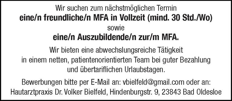 Auszubildende/n zur/m MFA