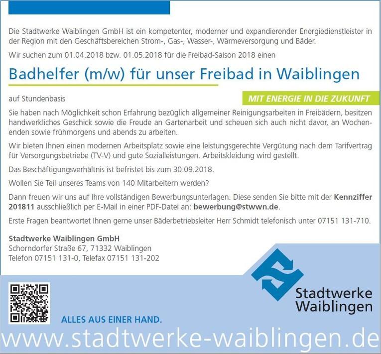 Badhelfer (m/w) für unser Freibad in Waiblingen (Stundenbasis) - Kennziffer: 201811