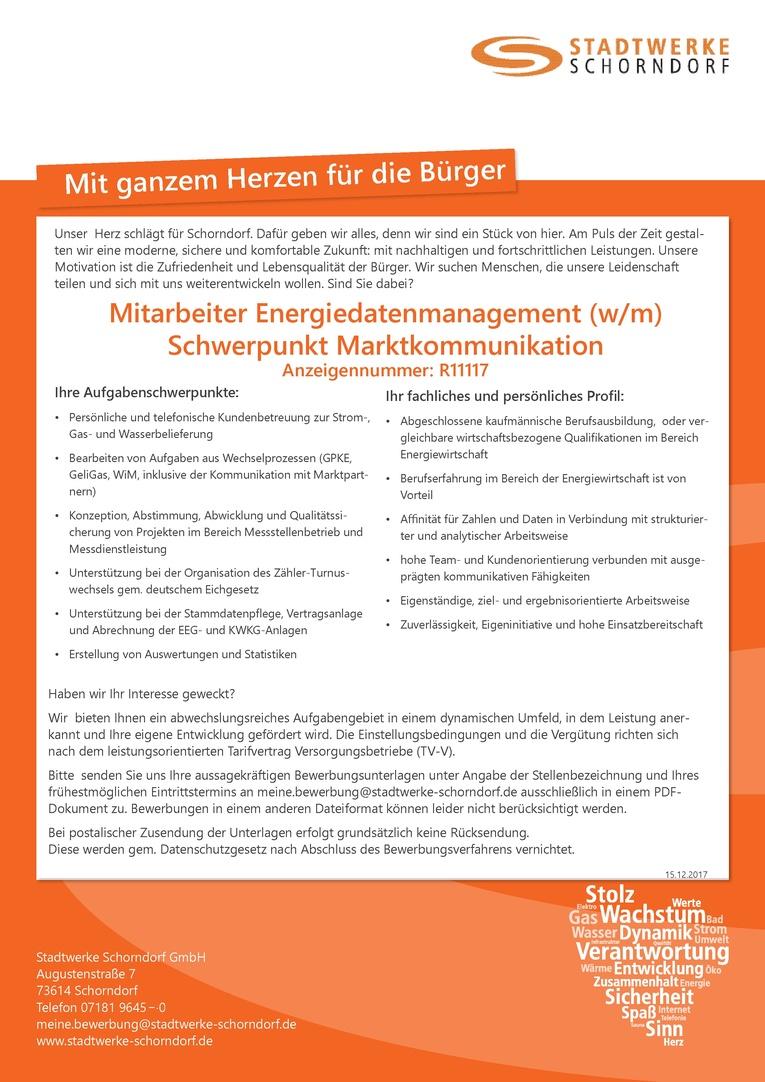 Mitarbeiter Energiedatenmanagement Schwerpunkt Marktkommunikation Anzeigennummer R11117