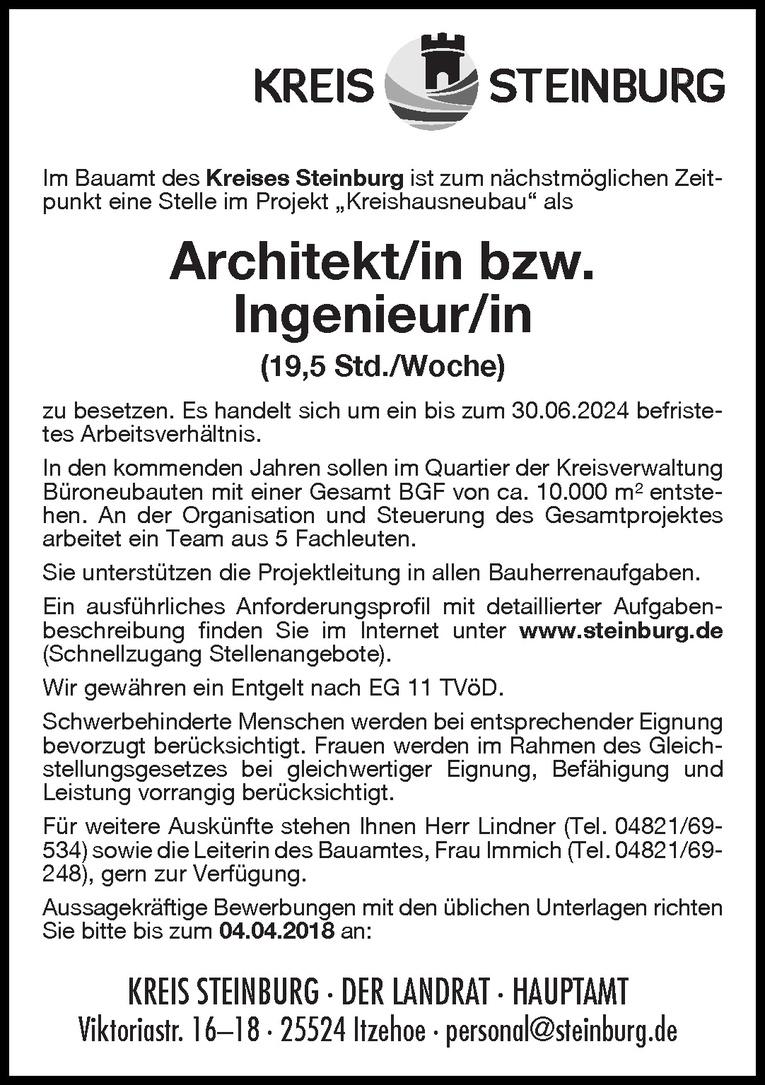 Architekt/in bzw. Ingenieur/in