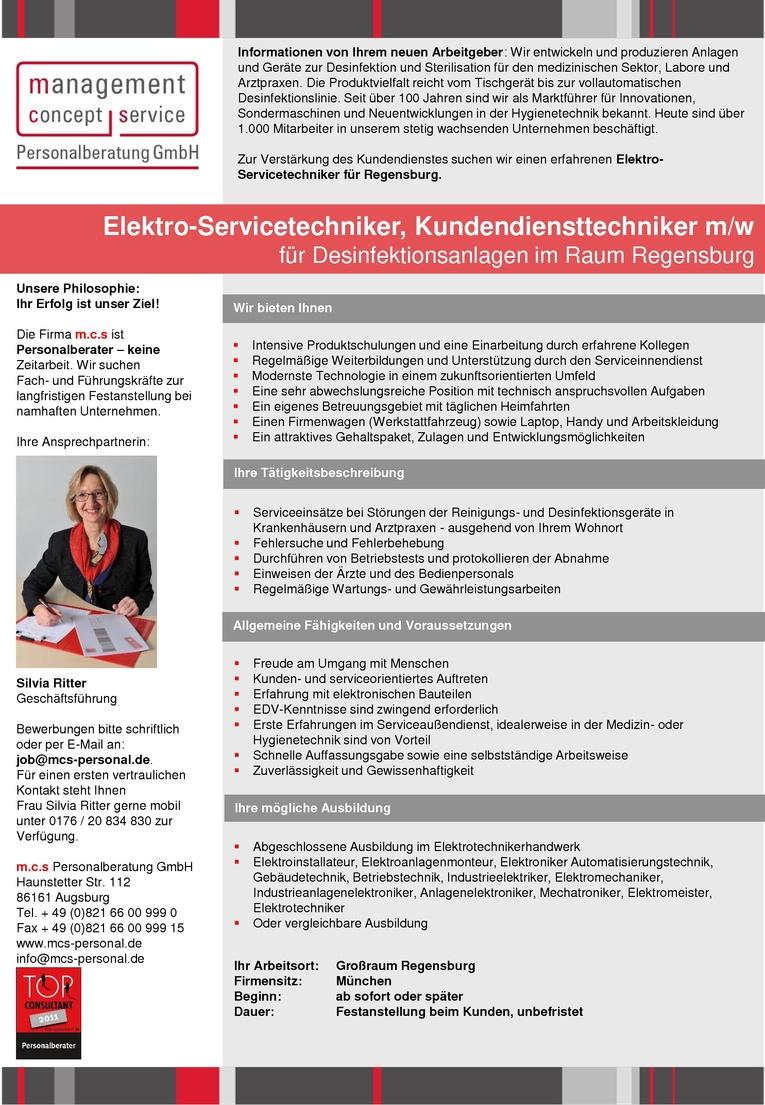 Elektro-Servicetechniker, Kundendiensttechniker m/w für Desinfektionsanlagen