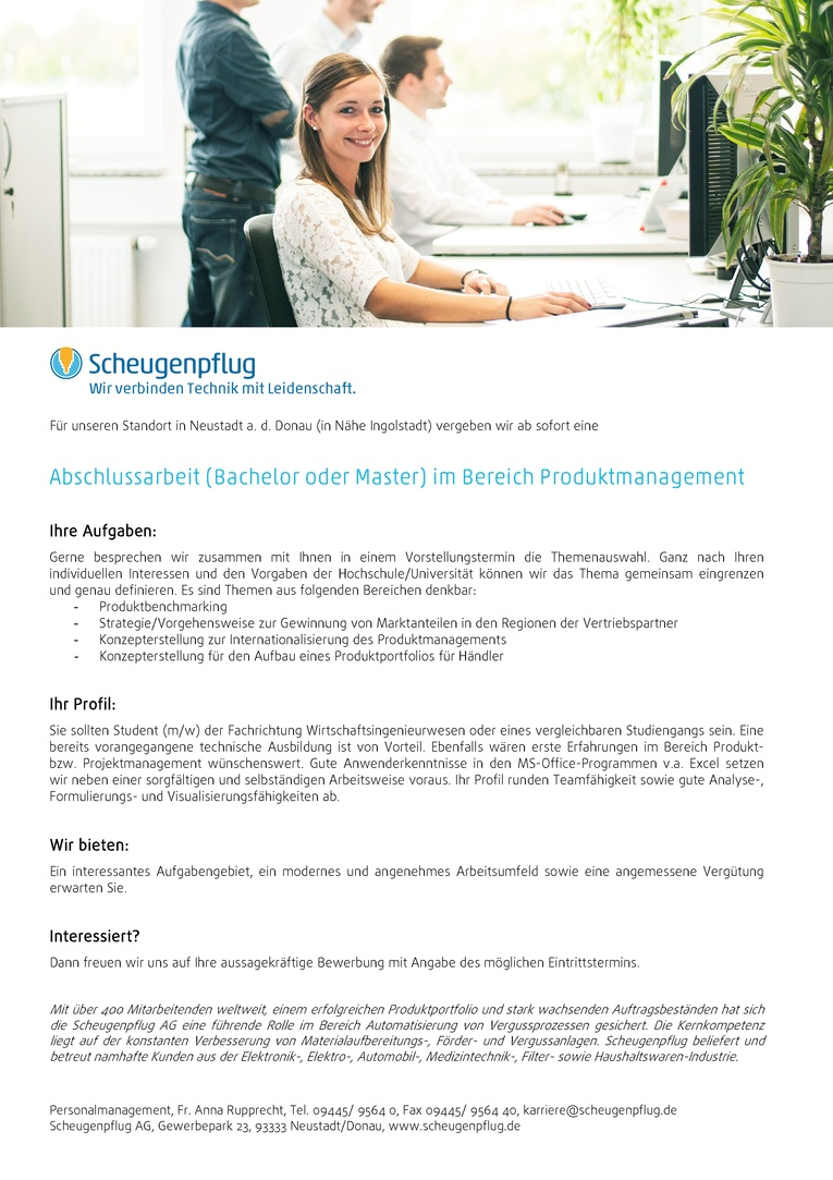 Abschlussarbeit (m/w) im Bereich Produktmanagement