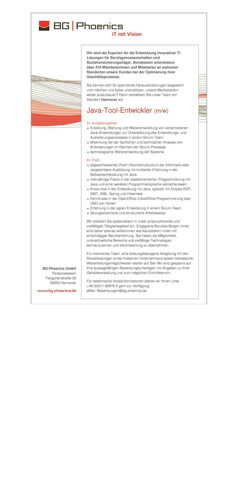 Java-Tool-Entwickler (m/w)