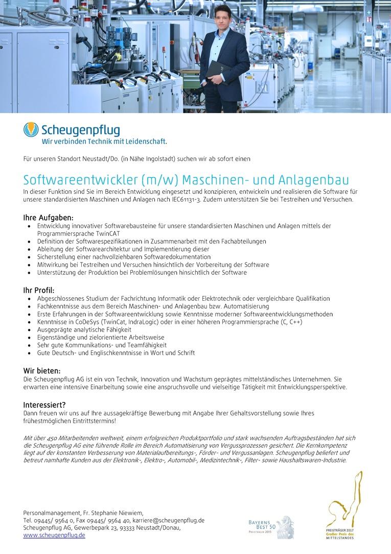 Softwareentwickler (m/w) Maschinen- und Anlagenbau