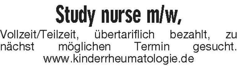 Study nurse m/w