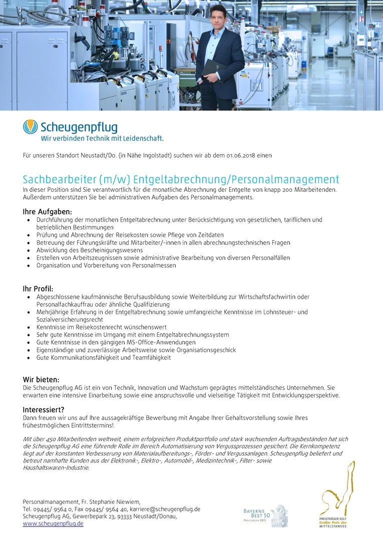 Sachbearbeiter (m/w) Entgeltabrechnung/Personalmanagement