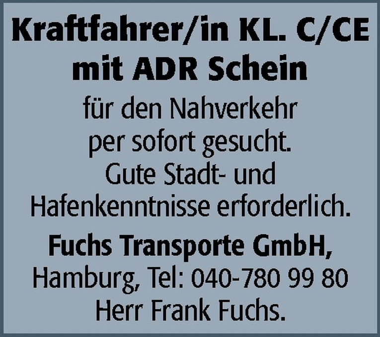Kraftfahrer/in KL. C/CE