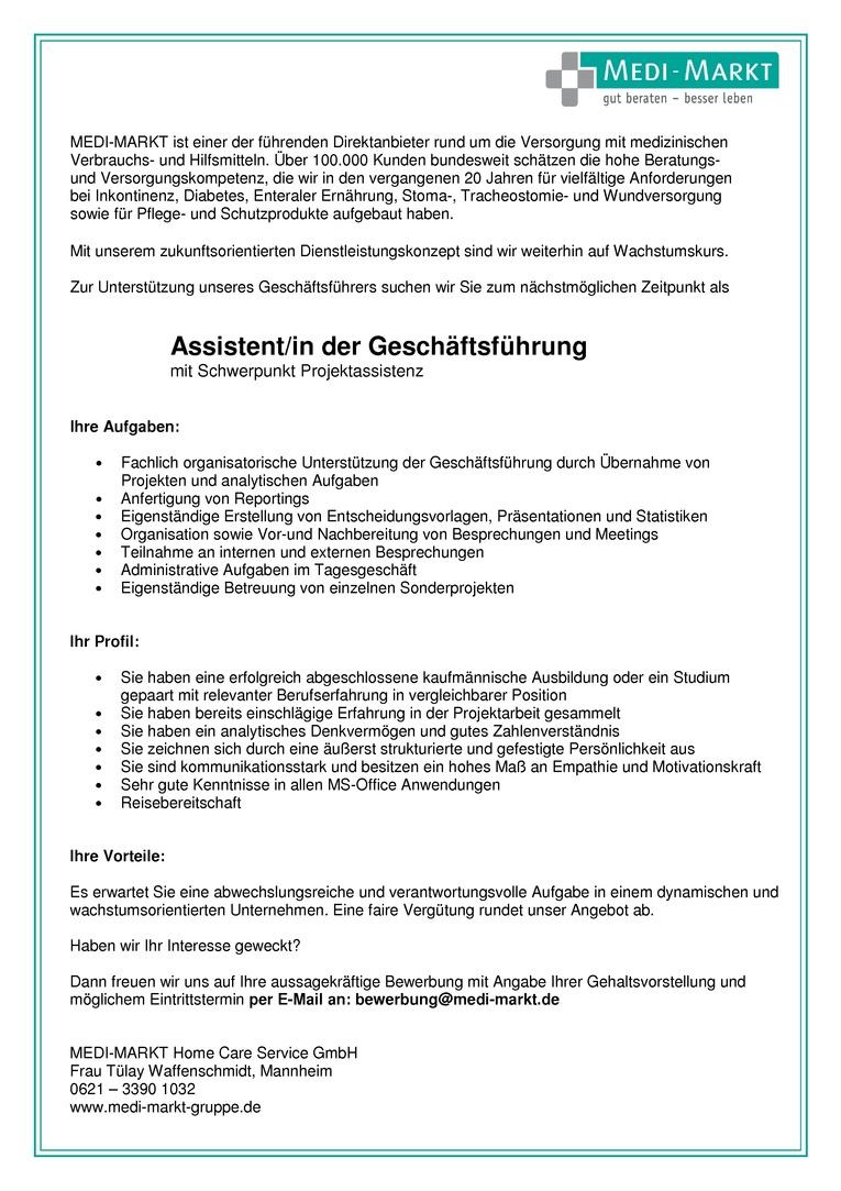 Assistent/in der Geschäftsführung mit Schwerpunkt Projektassistenz