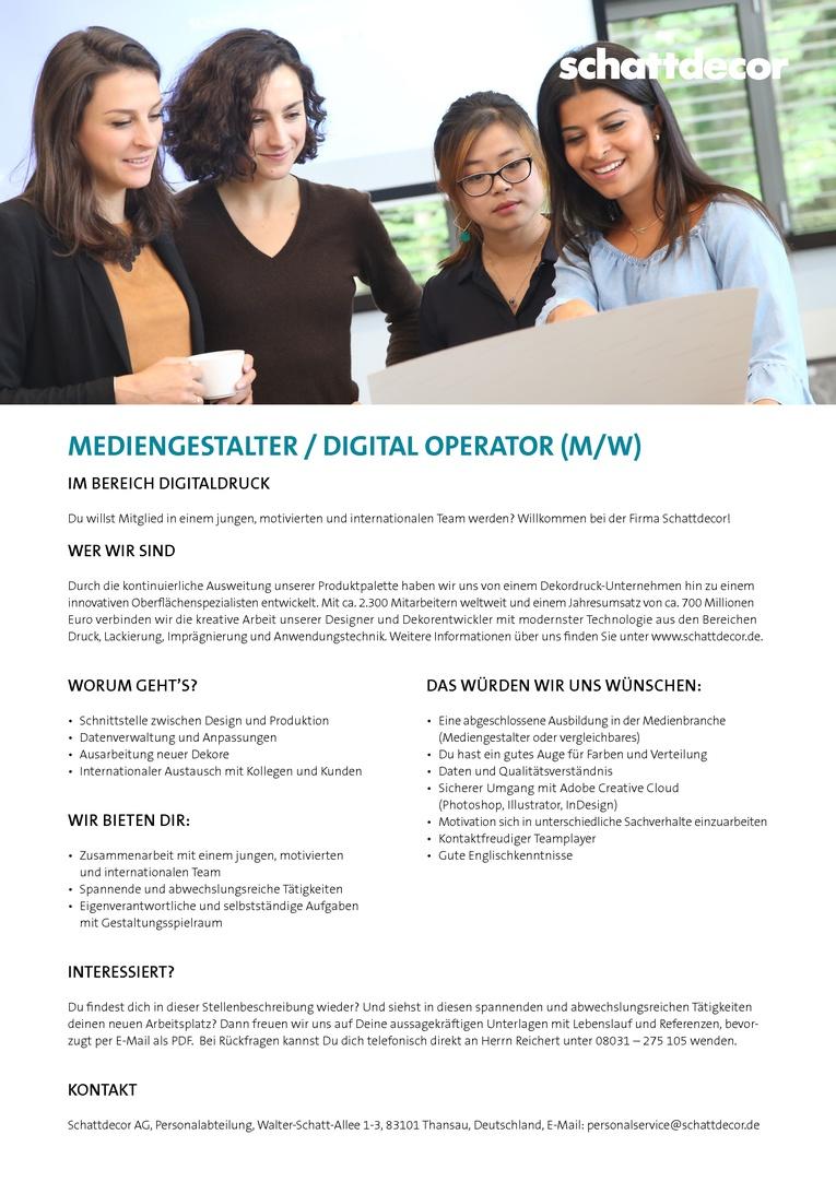MEDIENGESTALTER / DIGITAL OPERATOR (M/W)