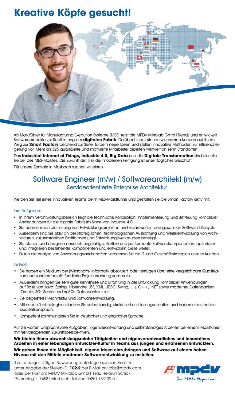 Software Engineer (m/w) / Softwarearchitekt (m/w) - Serviceorientierte Enterprise Architektur