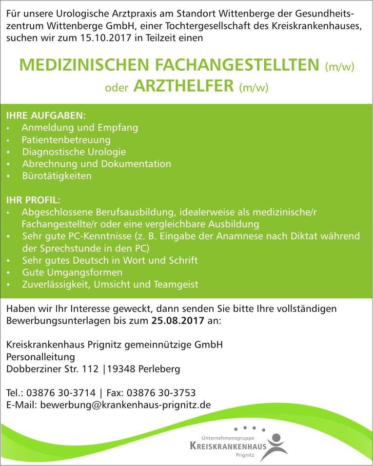 Medizinischer Fachangestellter (m/w)/Arzthelfer (m/w) in Wittenberge