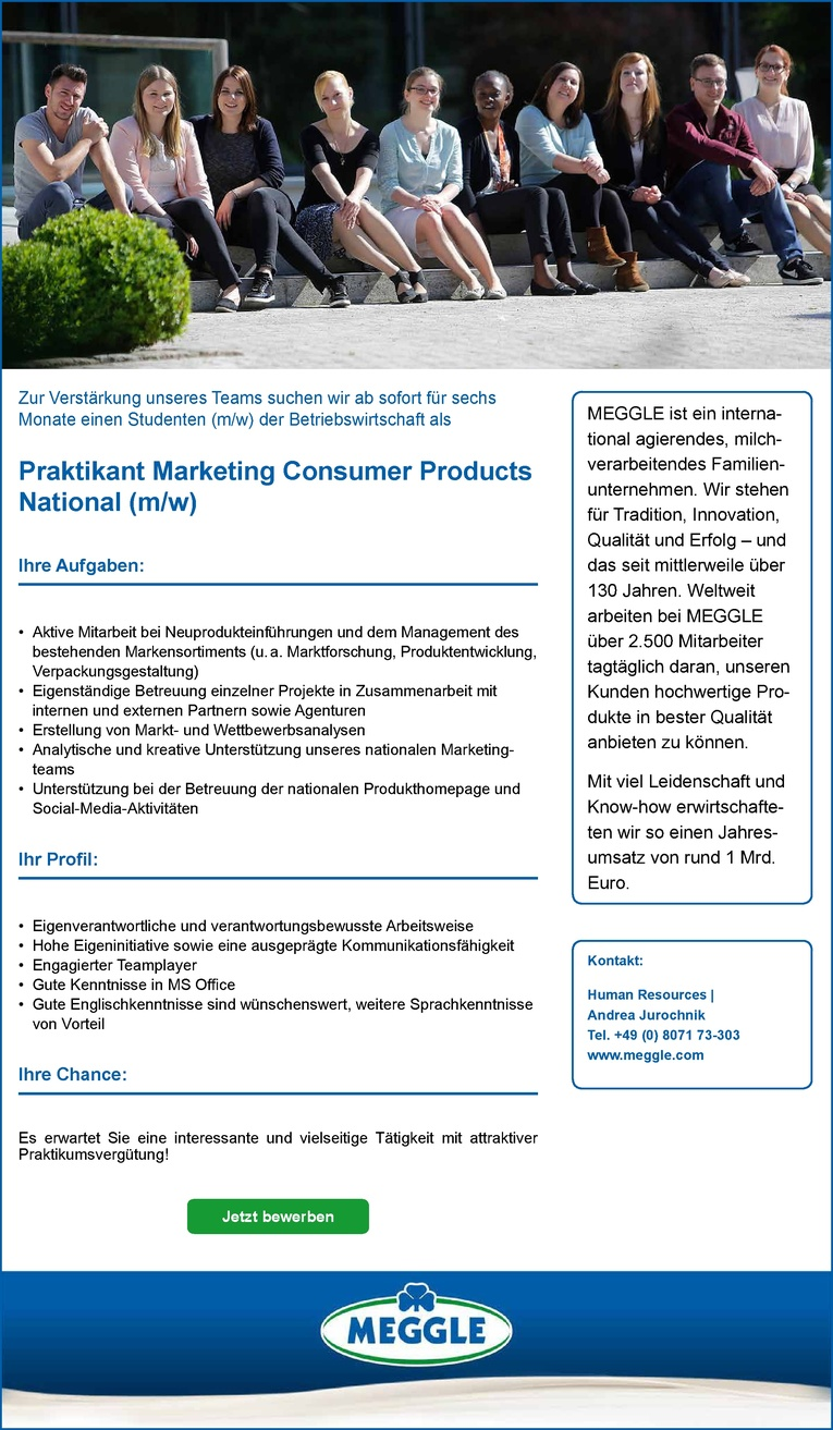 Praktikant Marketing und Vertrieb Consumer Products (m/w)