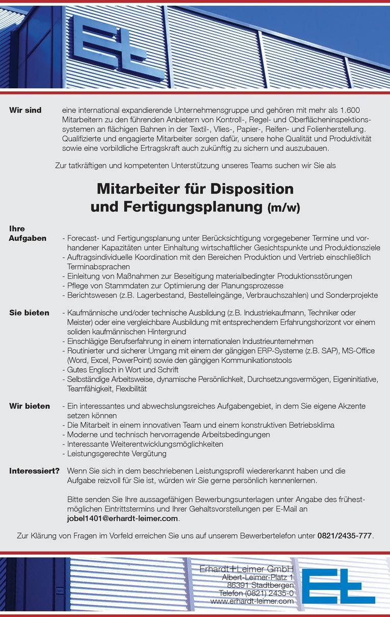 Mitarbeiter für Disposition und Fertigungsplanung (m/w)