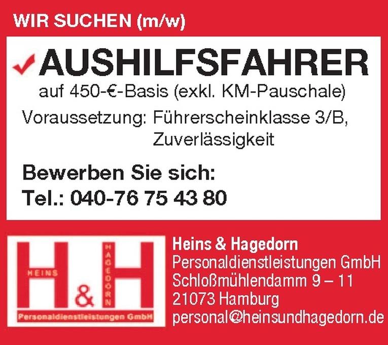 Wir suchen AUSHILFSFAHRER (m/w)