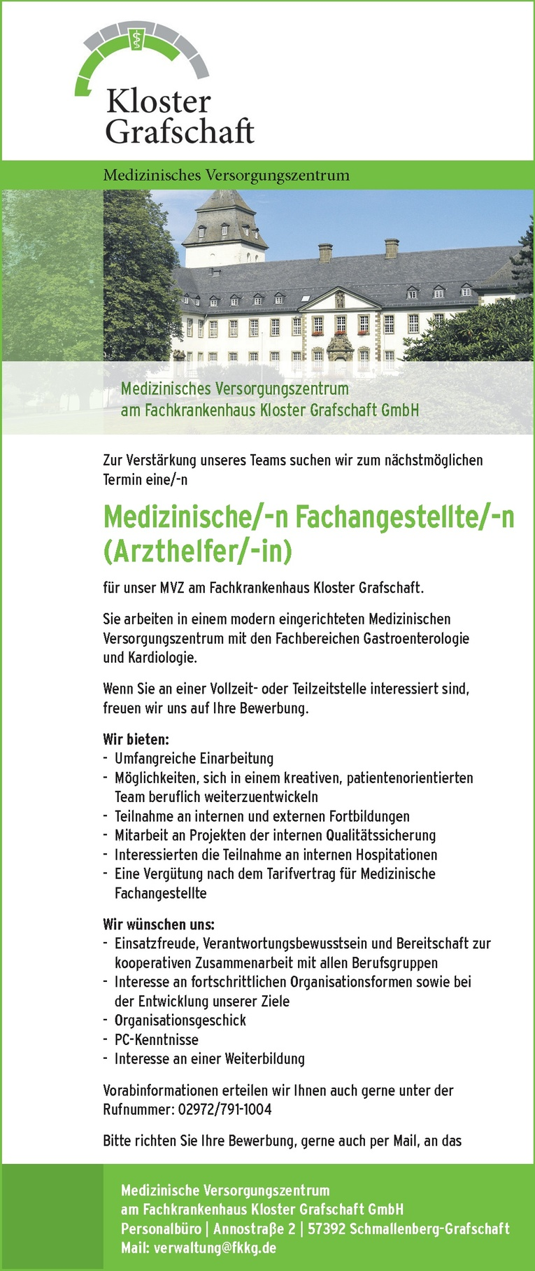 Medizinische/-n Fachangestellte/-n (Arzthelfer/-in) für unsere MVZ am Fachkrankenhaus Kloster Grafschaft