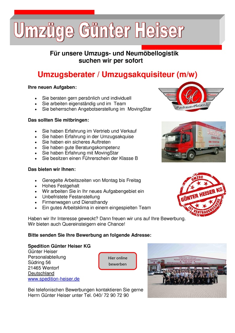 Umzugsberater / Umzugsakquisiteur(m/w)