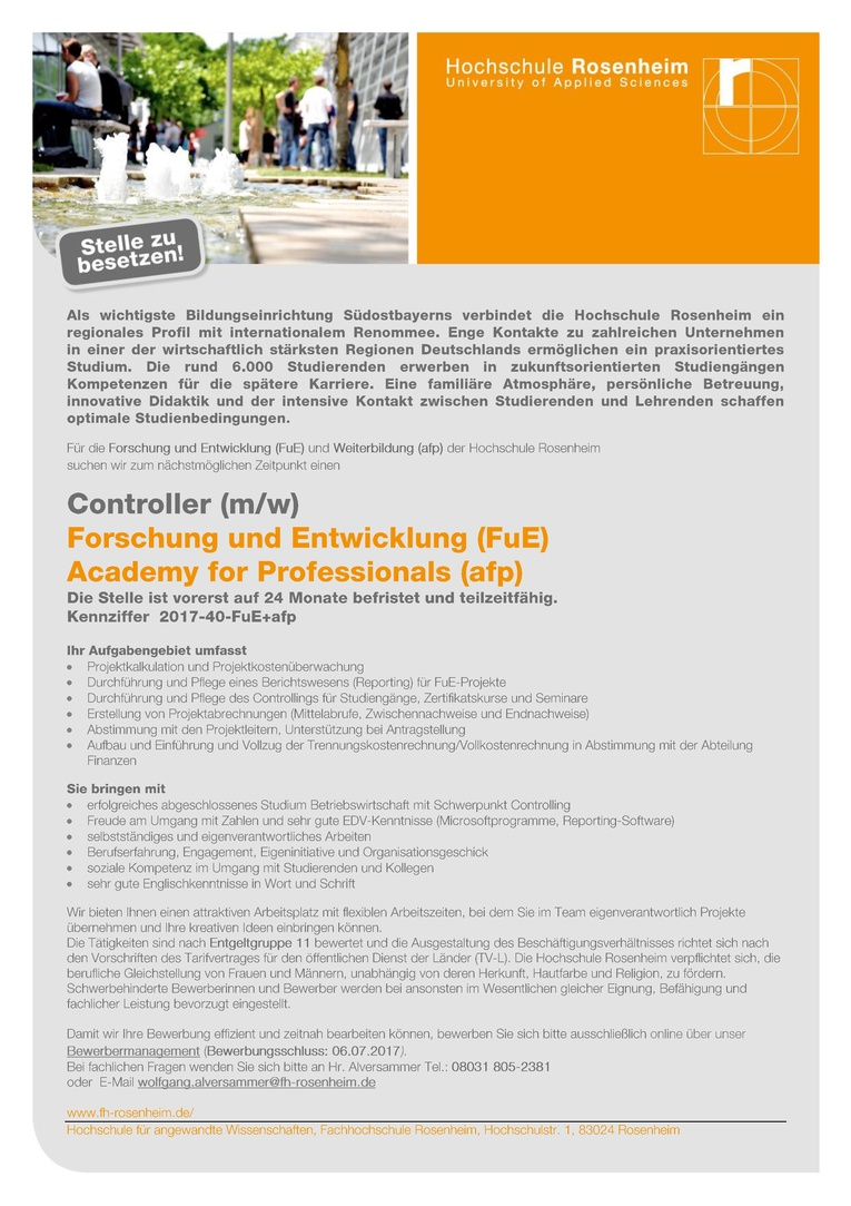 Controller (m/w)   Forschung und Entwicklung (FuE) + Academy for Professionals (afp)