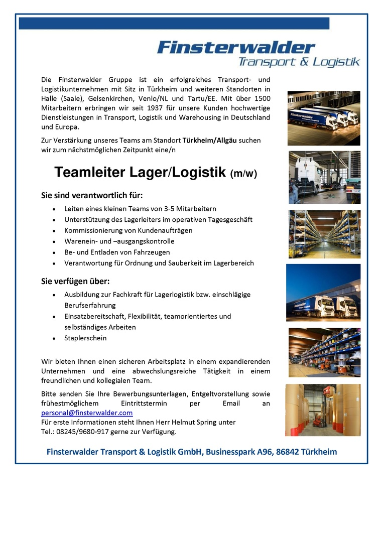 Teamleiter Lager/Logistik (m/w)