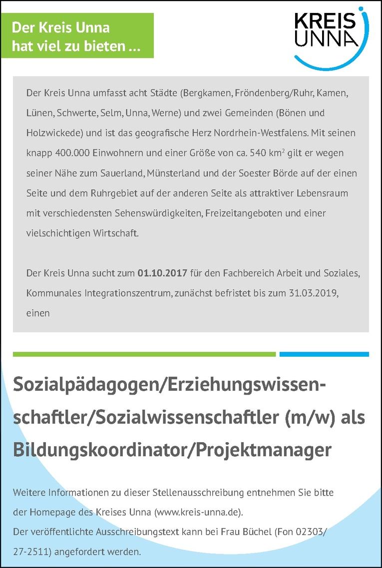 Sozialpädagogen / Erziehungswissenschaftler / Sozialwissenschaftler (m/w)