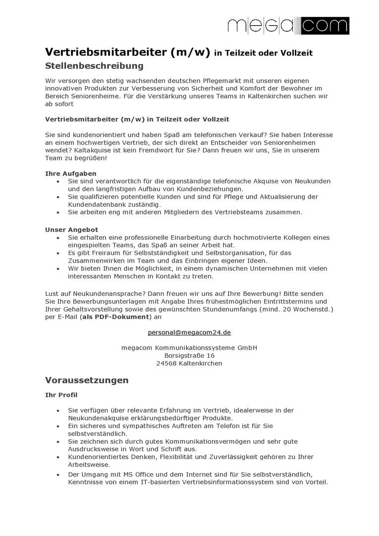 Vertriebsmitarbeiter (m/w)  - Teil-/Vollzeit