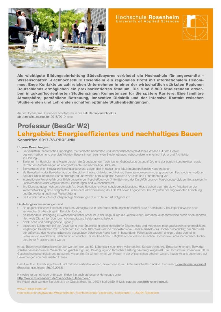 Professur (BesGr W2) -  Energieeffizientes und nachhaltiges Bauen