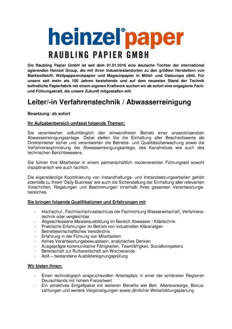 Leiter/-in Verfahrenstechnik / Abwasserreinigung