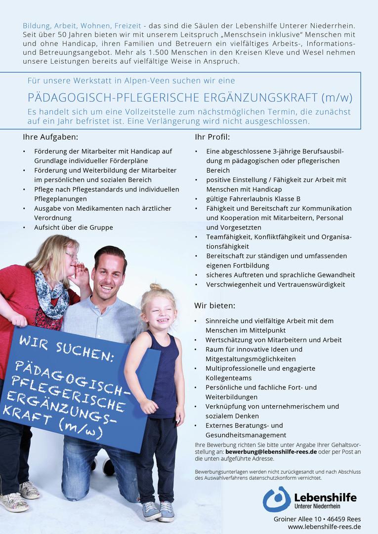 pädagogisch - pflegerische Ergänzungskraft (m/w) WfbM