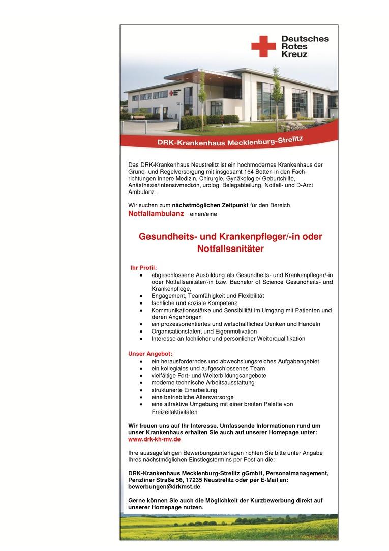 Gesundheits- und Krankenpfleger/-in  für den Bereich Notfallambulanz