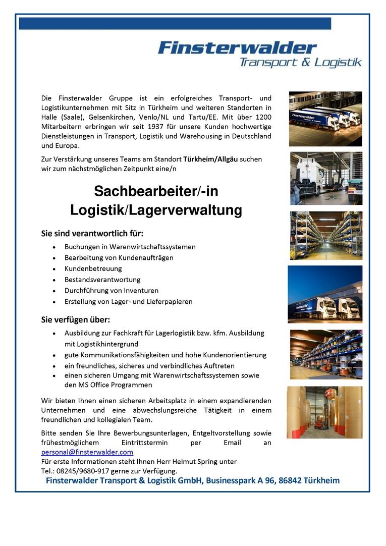 Sachbearbeiter/-in Logistik/Lagerverwaltung