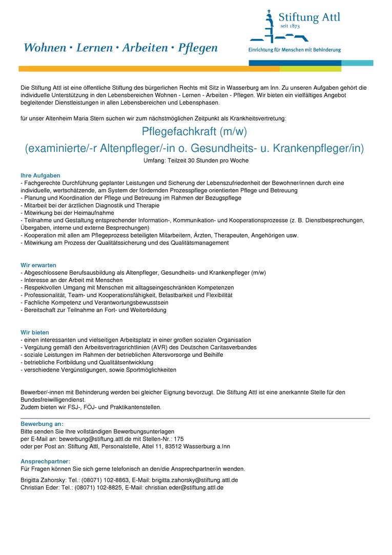 Pflegefachkraft (m/w)  (examinierte/-r Altenpfleger/-in o. Gesundheits- u. Krankenpfleger/in) in Teilzeit 30,0 Wochenstunden, befristet, Stellen-Nr. 175