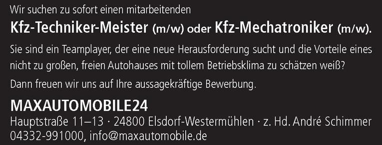 Kfz-Techniker-Meister / Kfz-Mechatroniker (m/w).