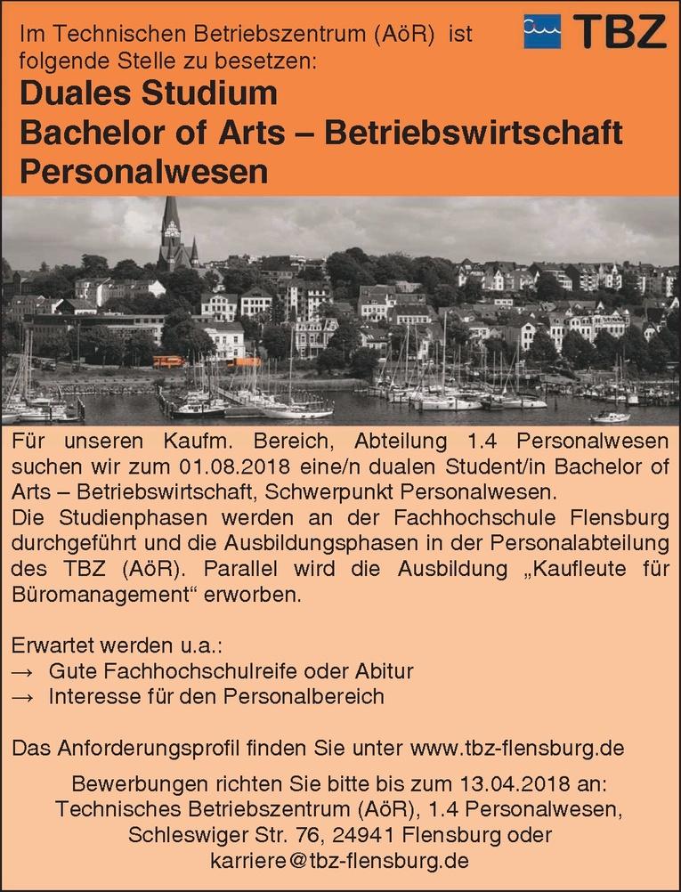 Duales Studium Bachelor of Arts – Betriebswirtschaft  Personalwesen