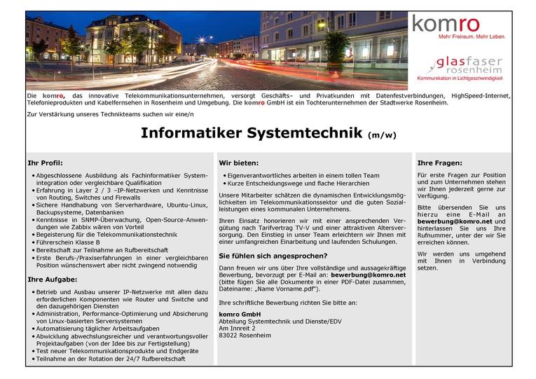 Informatiker Systemtechniker (m/w)