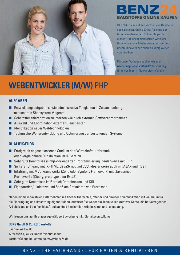 Webentwickler (m/w) PHP