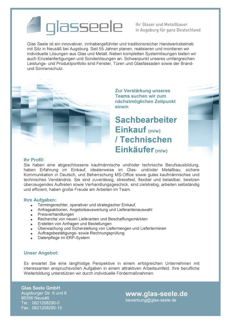 Sachbearbeiter Einkauf / Technischer Einkäufer (m/w)