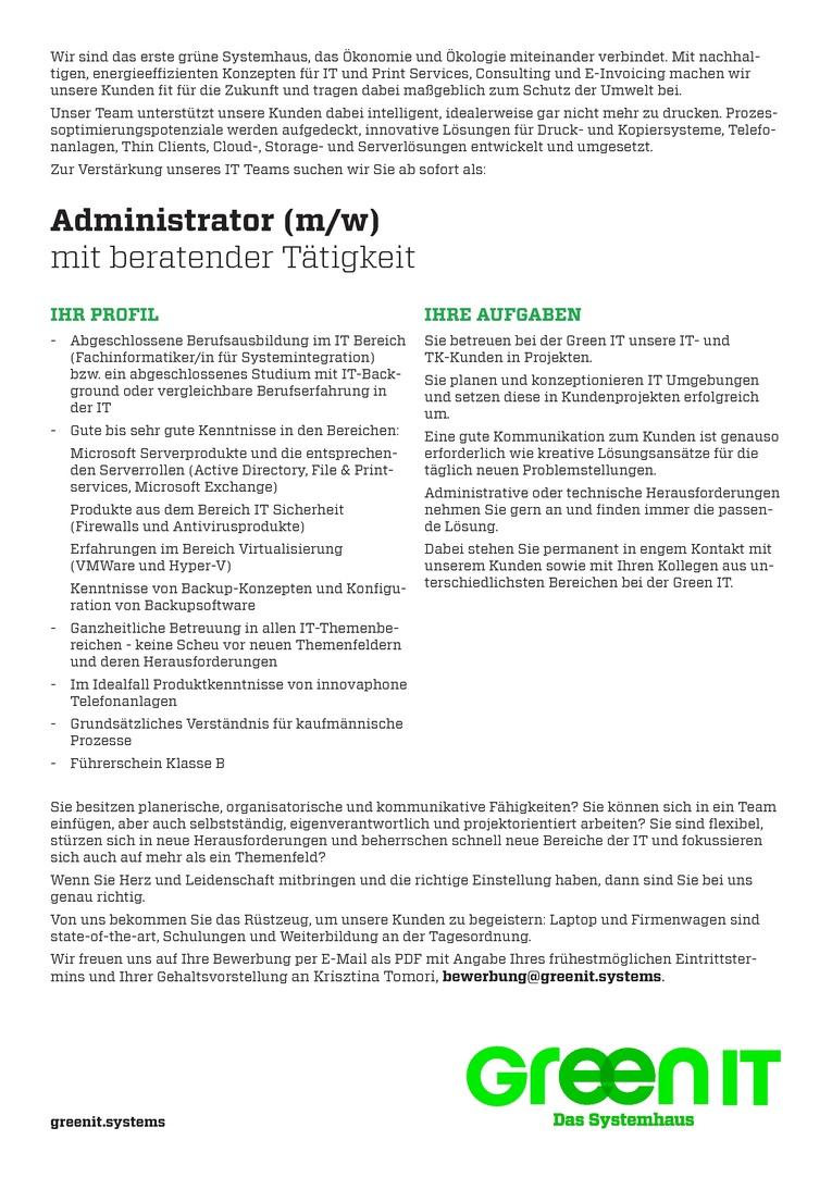 Administrator (m/w) mit beratender Tätigkeit