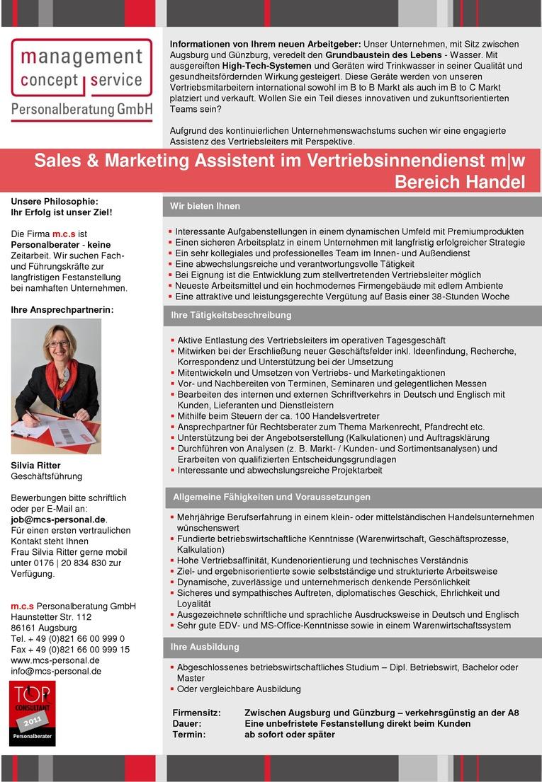 Sales & Marketing Assistent  im Vertriebsinnendienst m w Bereich Handel