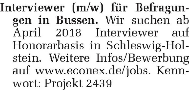 Interviewer (m/w)
