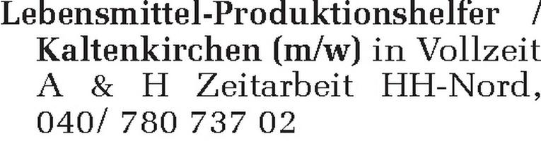Lebensmittel-Produktionshelfer / Kaltenkirchen (m/w)
