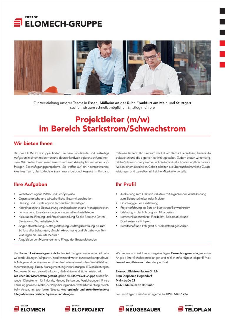 Projektleiter (m/w) im Bereich  Starkstrom/Schwachstrom