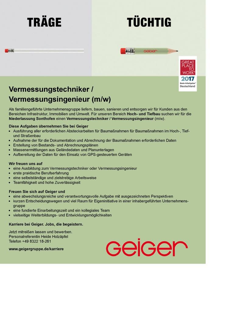 Vermessungstechniker / Vermessungsingenieur (m/w)