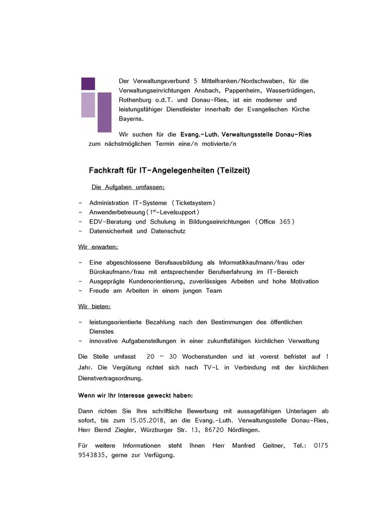 Fachkraft für IT-Angelegenheiten (Teilzeit)