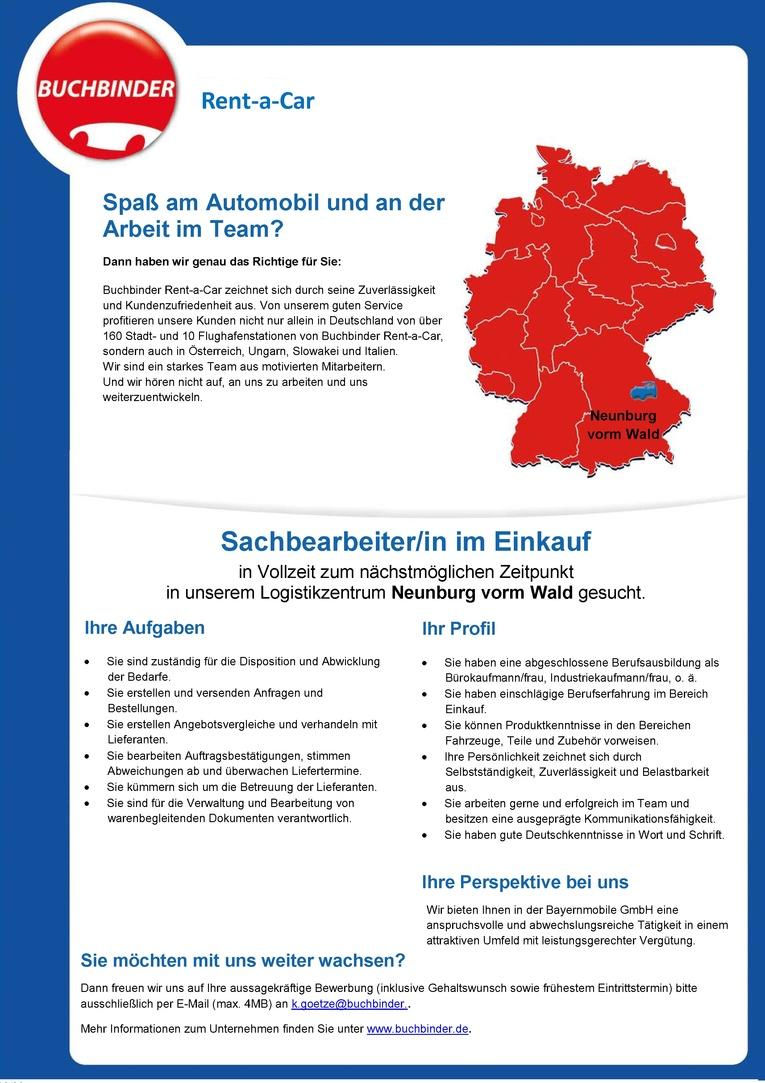 Sachbearbeiter/in im Einkauf - Vollzeit - ab sofort - Neunburg vorm Wald