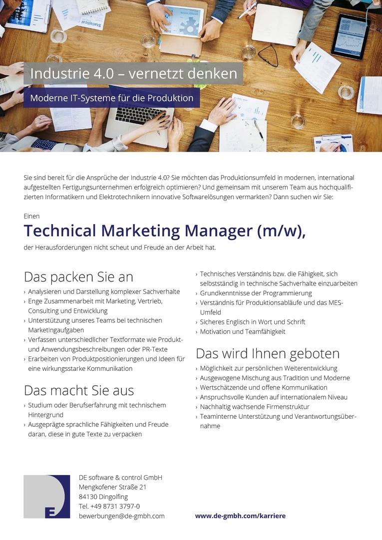 Job Technical Marketing Manager Mw