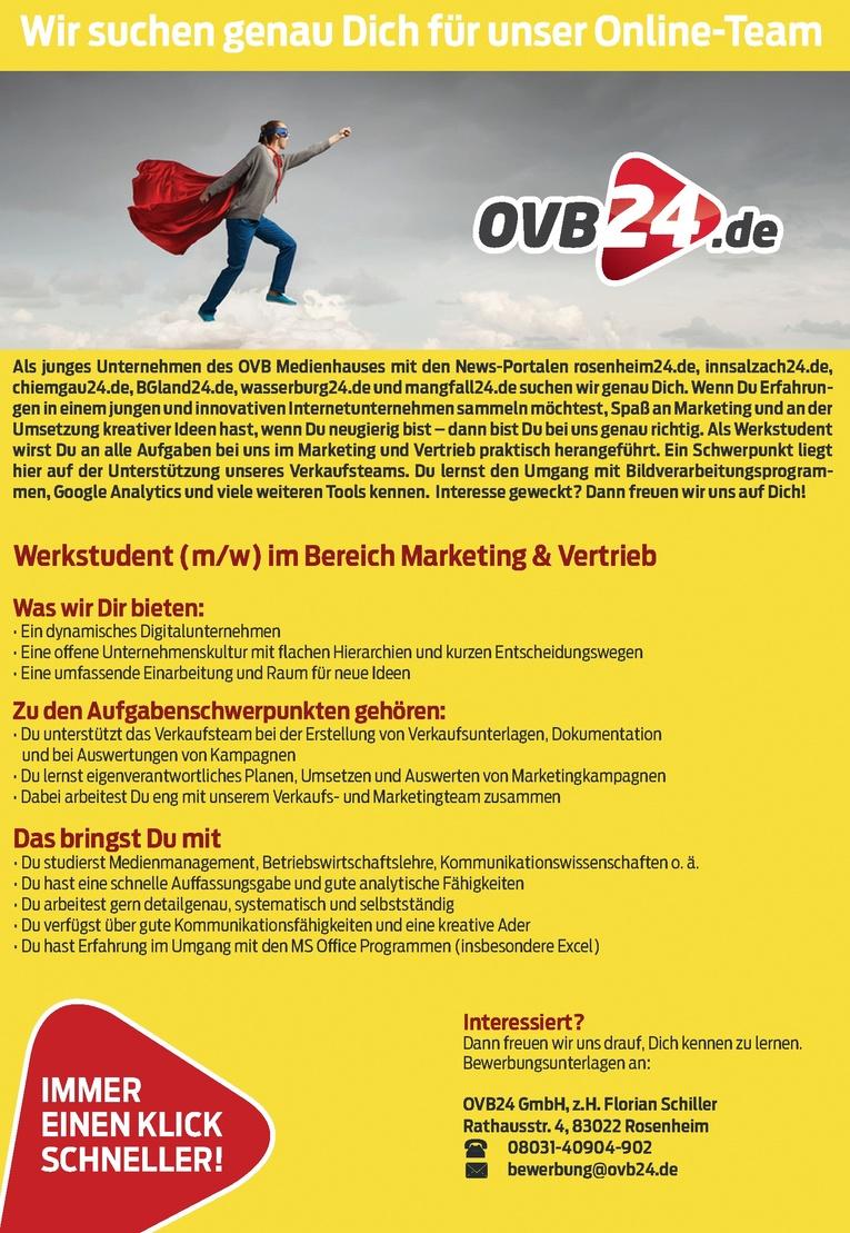 Werkstudent (m/w) im Bereich Marketing & Vertrieb