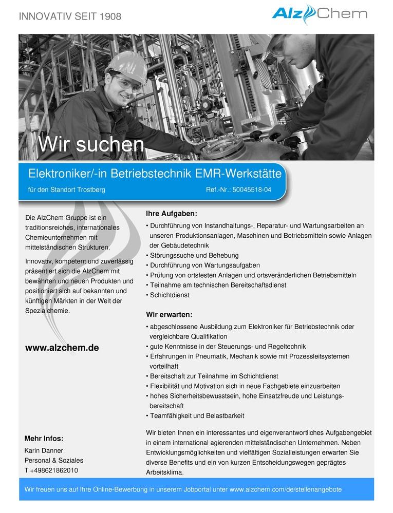 Elektroniker/-in Betriebstechnik EMR-Werkstätte